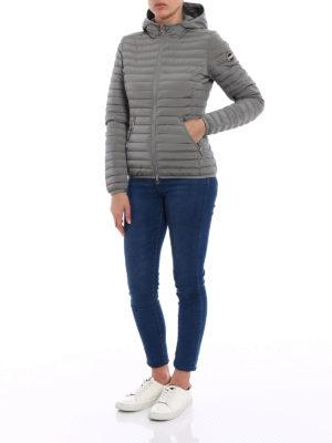 Colmar Originals: padded jackets online - Hooded grey stretch puffer jacket