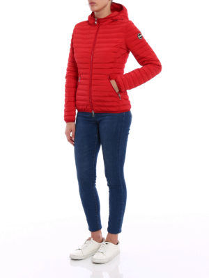 Colmar Originals: padded jackets online - Hooded red stretch puffer jacket