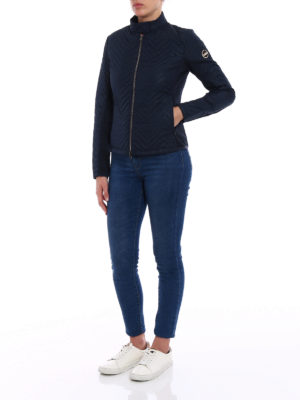 Colmar Originals: padded jackets online - Navy blue chevron puffer jacket