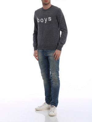 Comme Des Garcons: crew necks online - Boys embroidery grey wool crewneck