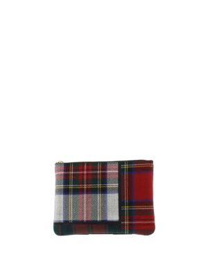 Comme Des Garcons: wallets & purses - Tartan patchwork pouch