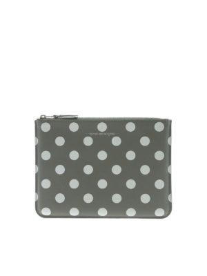 COMME DES GARÇONS WALLET: clutches - Polka dot pouch in grey