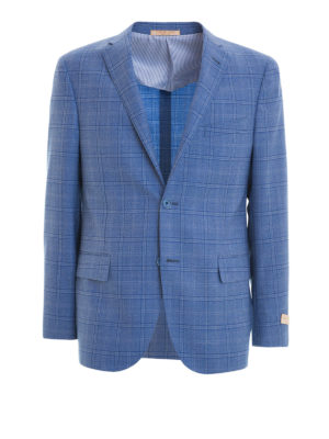 Corneliani: blazers - Check wool unstructured blazer