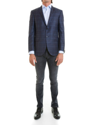 Corneliani: blazers online - Check wool single-breasted blazer