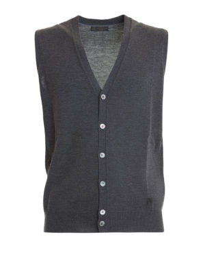 Corneliani: cardigans - Grey wool sleeveless cardigan