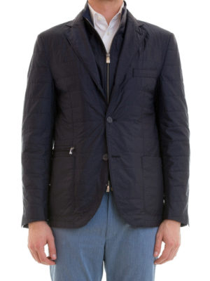 Corneliani: casual jackets online - Removable bib quilted jacket