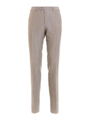 Corneliani: casual trousers - Beige wool and linen blend trousers