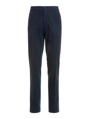 Corneliani: casual trousers - Cotton twill blue trousers