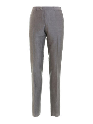 Corneliani: casual trousers - Grey wool and linen blend trousers