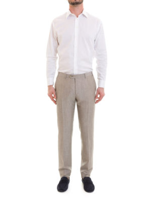 Corneliani: casual trousers online - Beige wool and linen blend trousers