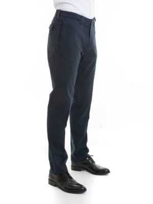Corneliani: casual trousers online - Cotton twill blue trousers
