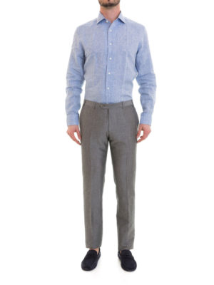 Corneliani: casual trousers online - Grey wool and linen blend trousers