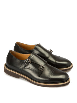 Corneliani: classic shoes online - Two buckles leather monk straps