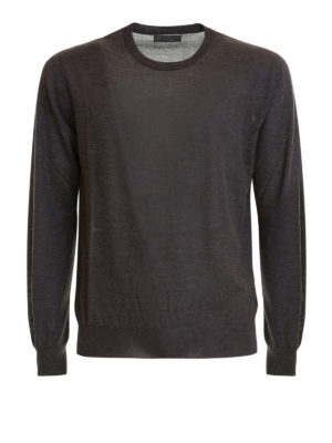 Corneliani: crew necks - Dark grey cashmere silk crewneck
