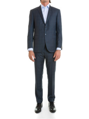 Corneliani: formal suits online - Check wool two-piece suit