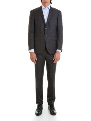 Corneliani: formal suits online - Two-piece check wool suit
