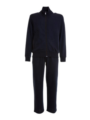 Corneliani: jumpsuits - Cotton blend zipped jumpsuit