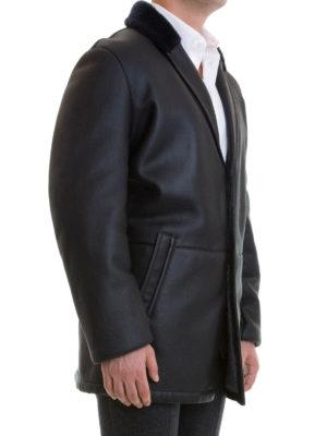 Corneliani: leather coats online - Leather fur detailed short coat