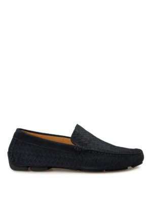 Corneliani: Loafers & Slippers - Printed suede driving shoes