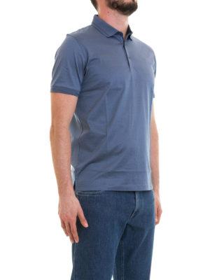 CORNELIANI: polo online - Polo azzurra in jersey di cotone