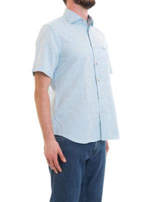 CORNELIANI: camicie online - Camicia in misto lino azzurra