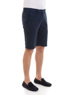 CORNELIANI: pantaloni shorts online - Bermuda blu in gabardina di cotone