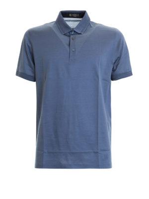 CORNELIANI: polo - Polo azzurra in jersey di cotone