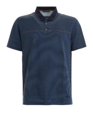 CORNELIANI: polo - Polo a righe blu in cotone