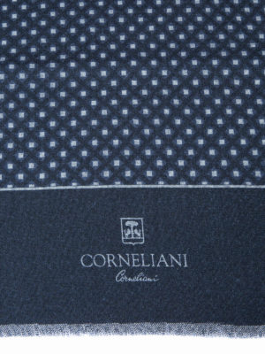 Corneliani: scarves online - Geometric patterned wool scarf
