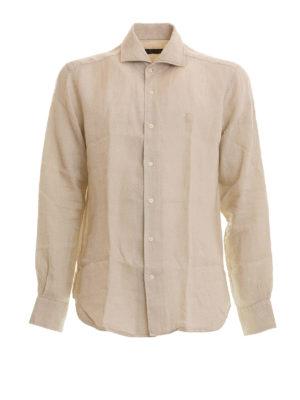 Corneliani: shirts - Beige linen long sleeved shirt