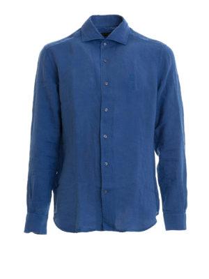 Corneliani: shirts - Blue linen long sleeved shirt
