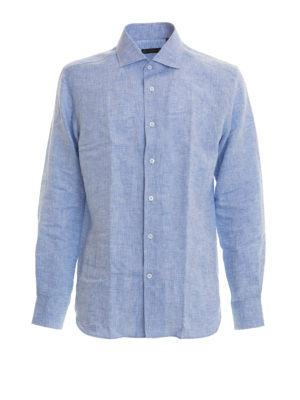Corneliani: shirts - Light blue linen shirt