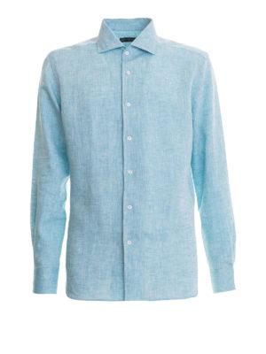 CORNELIANI: camicie - Camicia azzurra in lino