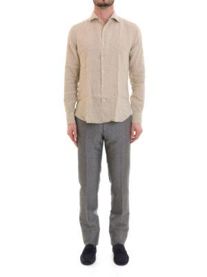 Corneliani: shirts online - Beige linen long sleeved shirt