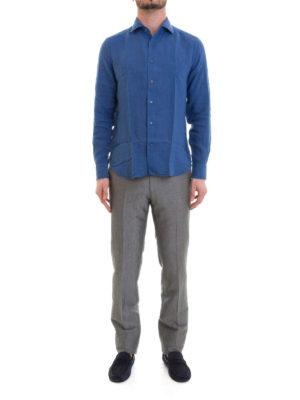 Corneliani: shirts online - Blue linen long sleeved shirt