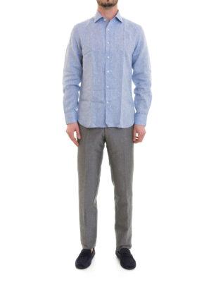 Corneliani: shirts online - Light blue linen shirt