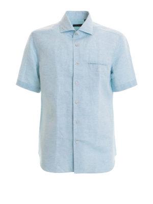 CORNELIANI: camicie - Camicia in misto lino azzurra