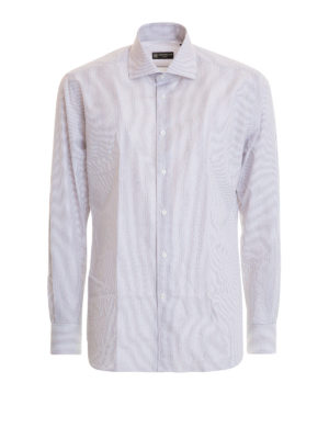 Corneliani: shirts - Striped cotton classic shirt