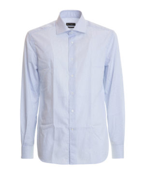 Corneliani: shirts - Striped cotton poplin classic shirt