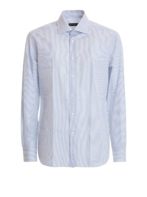 Corneliani: shirts - Striped cotton poplin shirt