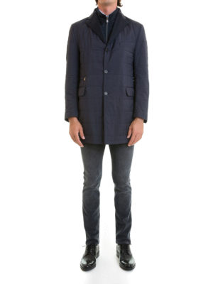 Corneliani: short coats online - Wool lined quilted coat