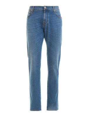 Corneliani: straight leg jeans - Cotton blend denim jeans
