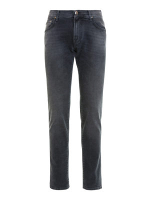 Corneliani: straight leg jeans - ID faded jeans with leather label