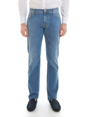 Corneliani: straight leg jeans online - Cotton blend denim jeans