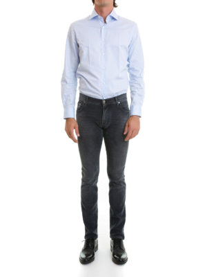 Corneliani: straight leg jeans online - ID faded jeans with leather label