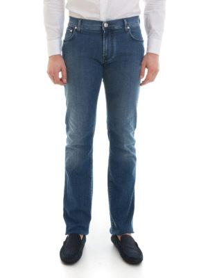 Corneliani: straight leg jeans online - Stretch cotton denim jeans