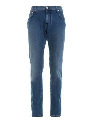 Corneliani: straight leg jeans - Stretch cotton denim jeans