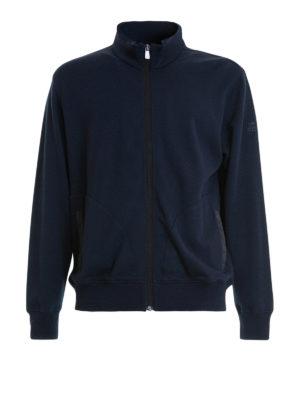 Corneliani: Sweatshirts & Sweaters - Blue cotton blend zipped sweatshirt