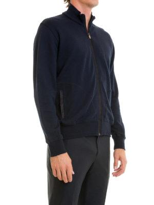 Corneliani: Sweatshirts & Sweaters online - Blue cotton blend zipped sweatshirt