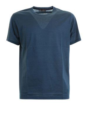 CORNELIANI: t-shirt - T-shirt blu avio in cotone